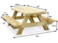 Economy A-Frame Wooden Picnic Table - 6' H-2999 - Uline