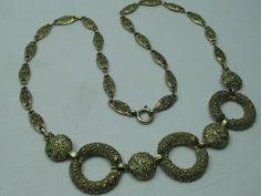 Theodor Fahrner Wunderschöne Art Deco Collier Kette aus 925 Sterling Silber