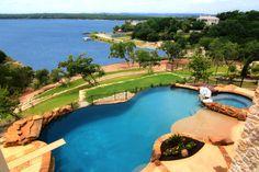 Lake Travis Waterfront Mediterranean Pool View by Zbranek & Holt Custom Homes, Luxury Custom Home Builders Austin