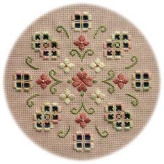 Spring Romance - an original Hardanger design of delicate flowers in soft romantic colours