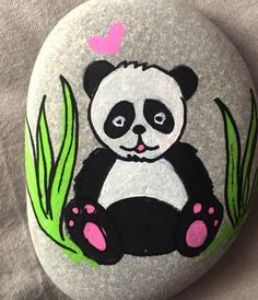 Panda painted rock