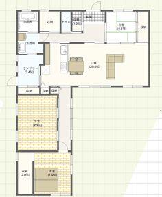 平屋 33坪 新築 l字 間取り 縁側 20畳 リビング ランドリールーム 土間収納 和室 回遊性 Japanese House, Home Design Plans, Small House Plans, Architecture Plan, House Rooms, Future House, Planer, Floor Plans, House Design