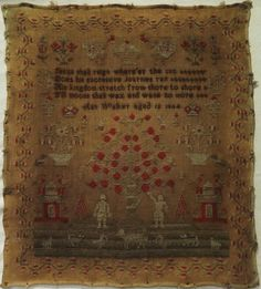 EARLY 19TH CENTURY ADAM & EVE SAMPLER BY ANN WALKER - 1844 in Antiques, Linens & Textiles (Pre-1930), Samplers | eBay