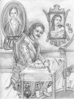 "Edgar A. Poe is inspired to write ""Ulalume""--with a tear in his eye.  (""Inspiration and Regret"", pencil illustration by Twila-TDB., c. 2017.)"