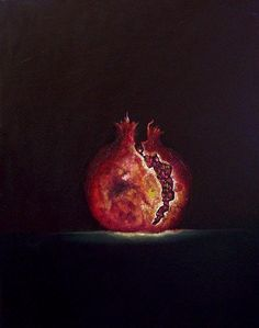 POMEGRANATE~Glowing Pomegranate Painting by James De Villiers - Glowing Pomegranate Fine Art Prints and Posters for Sale