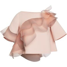 Marc Jacobs Rose Wool Crepe Top With Ruffle Detail (3,845 CAD) ❤ liked on Polyvore featuring tops, blouses, shirts, marc jacobs, rose, frilly shirt, pink ruffle shirt, elbow length shirts, rose shirt and crepe blouse