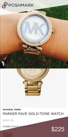 GOLD MICHAEL KORS WATCH lightly used gold toned michael kors watch, was given as a gift but never worn much. Has been adjusted in size but extra links are provided. Includes original packaging, extra links, tags, and booklet. No scratches, works like new, battery is still very good, no crystals are missing from the face of the watch Michael Kors Jewelry Bracelets