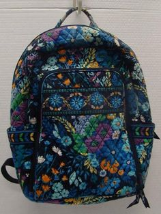VERA BRADLEY MIDNIGHT BLUE LAPTOP BACKPACK ADJUSTABLE STRAPS ZIP TOP BAG #VERABRADLEY #BackpackStyle