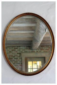Brocante landelijke spiegel met facetrand