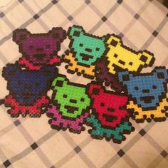Grateful Dead Bear Perler Necklace by electricbonesS on Etsy