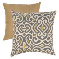 Pillow Perfect Gray and Greenish-Yellow Damask Throw Pillow