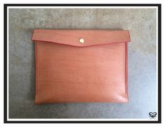 "Seaminglyartful large envelope pouch / clutch Handmade, literally handsewn veggie leather. dimensions 11"" X 9"""