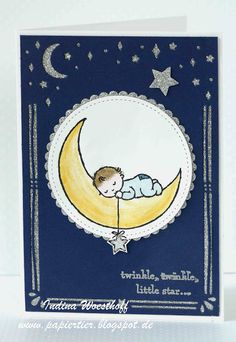 handmade baby card ... baby asleep on the moon ... luv the dark blue background with die cut moon, stars and deco frame as negative space backed with silver glimmer paper ... Stampin' Up!