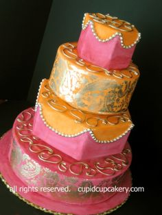 Pink, Orange and Gold Mendhi Wedding Cake By aprilismaius on CakeCentral.com