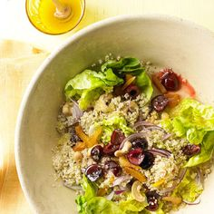 Fresh cherries add a punch of sweet-tart flavor to this Honey-Soaked Quinoa Salad with Cherries & Cashews. More cherry recipes: http://www.bhg.com/recipes/healthy/healthy-cherry-recipes/?socsrc=bhgpin070513honeyquinoa=1