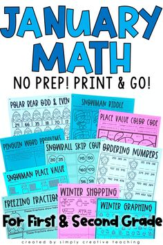 Get these differentiated, NO PREP math activities for easy January lesson planning today! They are print and go ready printables for 1st grade and 2nd grade classrooms! Each page comes in 3 differentiated levels! Use for guided math, homework, assessment, or additional practice. Activities include: snowman riddle, snowflake telling time, penguin word problems, winter shopping, winter graphing, and MUCH MORE! A must-have for a stress free January!