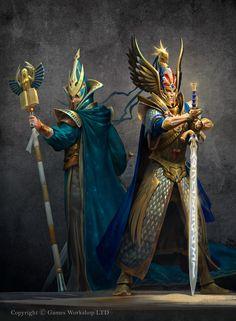 ArtStation - Tyrion and Teclis, Alexander Mokhov Dark Fantasy, Fantasy Battle, Fantasy Armor, Fantasy Weapons, Medieval Fantasy, Fantasy Hair, Fantasy Dress, Fantasy Makeup, Fantasy Heroes