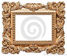 Moldura para retrato dourada do estilo barroco Objeto da arte do vintage