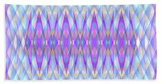 Pattern Of Diamonds Geometrics Purple Blue Pink White Orange Beach Towel featuring the painting Blue Diamond Prism Pattern by Expressionistart studio Priscilla Batzell