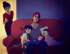 Musa, Riven, and their children Kai, Raven, and Ran. Ran's hair is green because of her paternal grandmother.