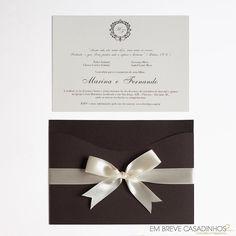 Convite de Casamento Clássico Marrom