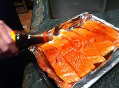 Salmon with teriyaki sauce and maple syrup in the toaster oven. **Spread to sauce top to avoid the salmon drying out. Simple and tasty.**