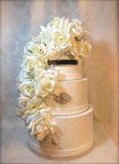 Elegant Cream Lace Wedding Card Box, Handmade Wedding Card Box, Unique Wedding Card Box, Custom Wedding Card box. $135.00, via Etsy.
