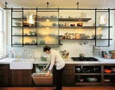 unique open shelving in kitchen = love beams and industrial look