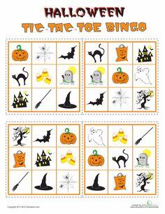 Worksheets: Play Halloween Tic-Tac-Toe Bingo