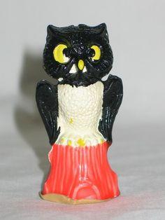 Vintage Gurley Halloween Candle ~ Owl on Stump Candle, circa 1950's