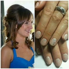 Lovely Bridesmaid nails.... Nude with Illusion Glitter