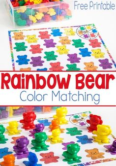 This Rainbow Bear Color Matching Spinner Game is such a fun way for preschoolers to learn their colors! Use it for language development too!