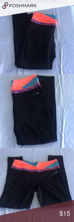 "essenza Black coral blue spandex leggings essenza black spandex leggings/workout/running pants with coral, blue and purple at waistband. Hidden pocket on inside of waistband. EUC Inseam of pants 28.5"" ✅I ship same or next day ✅Bundle for discount essenza Pants Leggings"