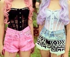 Pastel Goth ~ Lace Bustier & High Waisted Shorts wish the top wasnt so see thru. but its still cute!