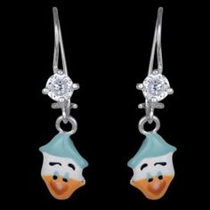 Silver earrings, enamel, Donald Duck Silver earrings, Ag 925/1000 - sterling silver. Dangles with a closable clasp. Earrings with zircon and Donald Duck made of enamel. Height approx. 25mm including enclosure.