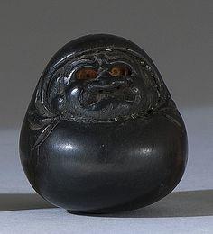 Japanese 19th c Antique Netsuke of Daruma/ Dharma by Famous Hōshunsai Masayuki