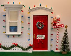 Elf on the Shelf Idea: Elf North Pole Door. To view more pins like this one, search for Pinterest user amywelsh18.