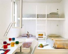 Here are 65 amazing children's bedrooms with bunk beds. Bunk Beds Built In, Modern Bunk Beds, Kids Bunk Beds, Loft Beds, Loft Spaces, Kid Spaces, Small Spaces, Small Rooms, Creative Beds
