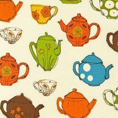 Fabric Retro Teacups Teapots