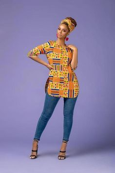 The Shalla Top is stunning in theColorful African Print. It's comfy to wear and will make sure you stand out in a crowd African American Fashion, African Inspired Fashion, Latest African Fashion Dresses, African Print Fashion, Africa Fashion, African Wear, African Attire, African Dress, African Print Dresses