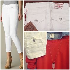 """NWT True Religion Brooklyn Cropped Skinny Size 25 20% Bundle Discount! NWT Size 25 True Religion """"Brooklyn"""" cropped skinny jeans with back pocket flaps in optical white. Made in USA. 26"""" inseam. 27 3/4"""" waist. 8 1/2 front rise. 12 3/4"""" back rise. 10"""" leg opening. True Religion Jeans Skinny"""