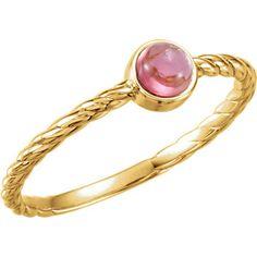 14kt yellow gold pink tourmaline rope design ring. Find it at a jeweler near you: www.stuller.com/locateajeweler #octoberbirthstone #pinktourmaline