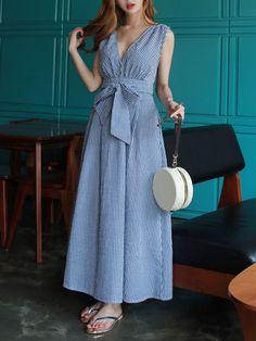 Deep V-Neck Plaid Bowknot Sleeveless Maxi Dress