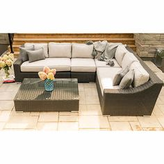 Tuscan Patio Sectional Conversation Set Wicker colour: charcoal grey Includes 1 right-arm loveseat, 1 left-arm loveseat, 1 corner chair, 1 armless slipper chair and 1 ottoman Aluminium frames All-weather resin wicker Sunbrella® fabric Corner Chair, Sunbrella Fabric, Outdoor Furniture, Outdoor Decor, Wicker, Love Seat, Patio, Backyard, Ottoman