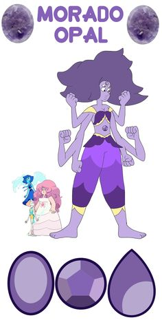 Lapis + Rose + Pearl = Morado Opal Personality below! Morado Opal is ladylike but fierce; she can destroy enemies and look simply fabulous while doing so. Her abilities include hydrokinesis, harenkinesis, agrokinesis, and a healing aura. She can also use Rose's shield, Pearl's spear, and Rainbow Quartz's war-axe. Thanks for the request, thatweirdguywithredhair!