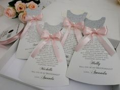 Bridal Party Invitations Card Will you be my Bridesmaid Proposal Card Asking Bridesmaid Maid of Honor Flower girl Invitation  This listing is for One Dress Proposal Card + Envelope  Unique and adorable way to show your closest girls, how much you need them on your special day is to choose my Bridesmaids Dress Invitation Cards with a Silver Glittered Bustier, French lace and cute Ribbon! Please feel free to choose your favorite color for your dress and satin ribbon.  You are always welcome to…