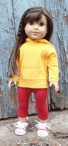 Gold hoodie tunic by GumbieCatDollClothes on Etsy. Made from the Hoodie Dress pattern. Get it at http://www.pixiefaire.com/products/hoodie-dress-18-doll-clothes. #pixiefaire  #hoodiedress