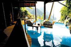 Perfect vacation stay: Room with a view, check. Room with a private pool overlooking the ocean view, check. Room with a private pool with swings suspended over the pool to view the ocean while dipping your feet in the water and sipping a tropical drink. Check. Ladera Resort, St Lucia.