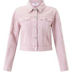 Miss Selfridge PETITE Pink Ripped Denim Jacket (1,340 MXN) ❤ liked on Polyvore featuring outerwear, jackets, pink, petite, petite jean jacket, cotton jacket, distressed denim jacket, distressed jacket and petite denim jacket