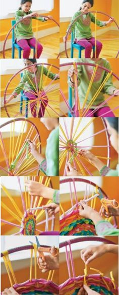 how to make a hula hoop loom for kids learning to weave.